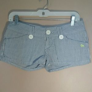 Lost 0 Blue White Striped Shorts